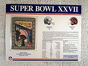 Super Bowl XXVII (1993) - Official NFL Super Bowl Patch with complete Statistics Card - Dallas Cowboys vs Buffalo Bills - Troy Aikman MVP