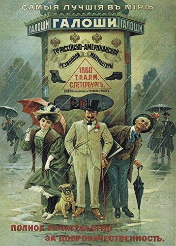 Vintage Style &Die WORLD'S BEST GALOSHES Hergestellt von der Russischen-American Gummi COMPANY RUSSIA C1906, 250gsm, Glänzend, A3, Vervielfältigtes Poster