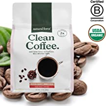 New! Natural Force Clean Coffee, Crafted for Health and Purity, Tested for Mold & Toxins - Premium Whole Bean Medium Roast from Specialty Grade Organic Coffee *High in CLA Antioxidants*, 12 Ounce