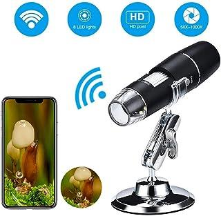 Mogattiny デジタル顕微鏡 Wi-Fi 電子ズーム 顕微鏡1000X倍率 USB充電式 720P HDカメラ 携帯型8LEDライト搭載 iOS/Android電話 タブレット用/スマホ対応 生物観察/ジュエリー検定/皮膚チェッ ク/電子機器のチェック