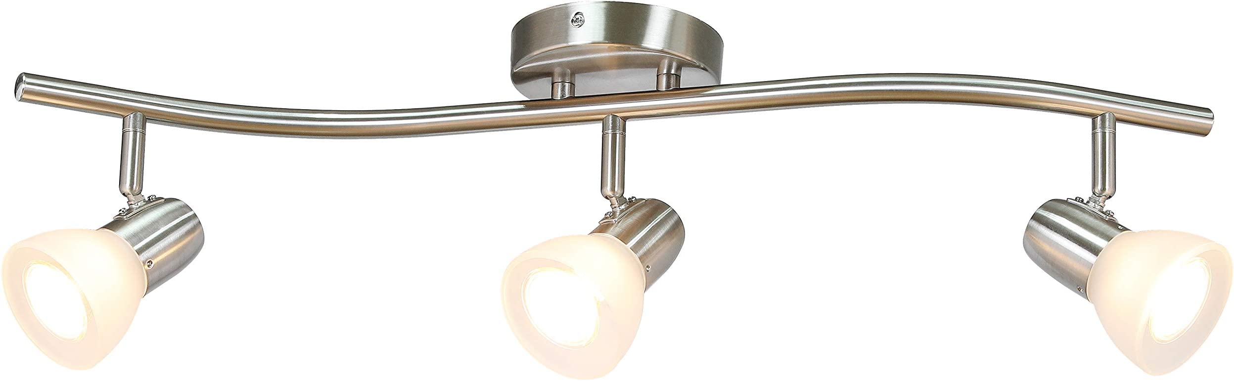 XiNBEi Lighting Track Lighting, 3 Light Track Light, Modern S-Shaped Track Light Bar Included GU10 Bulb Brushed Nickel Finish XB-TR1223-3
