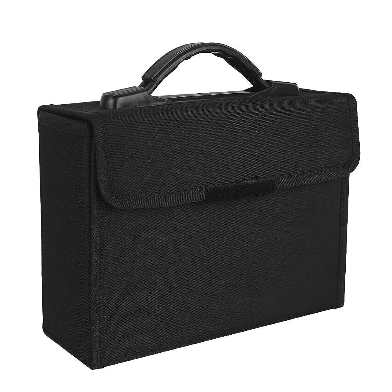 工業化する言う遺体安置所マーカーペン ケース 持ち運び 収納バッグ 筆ホルダー 48穴 (ブラック-48穴)