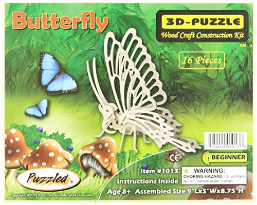 """3D Jigsaw Puzzle 16 Pieces 9""""X5""""X8.75""""-Butterfly"""
