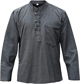 Shopoholic Fashion Mens Plain Hemp Collarless Grandad Shirt Full Sleeved Hippie Summer Light Tops