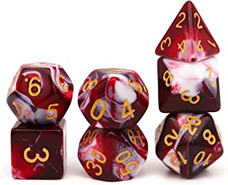 PJOY DND Dice Set Wisp D D Dice for Dungeons and Dragons Role Playing Games (Red Black) (Red White)