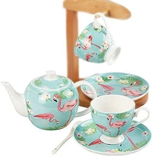 Pink Flamingo with Flowers Ceramic Coffee Tea Sets,Tea Pot,Cups,Saucer Set of 2 Afternoon Tea Set,Ceramic Gift for Wedding