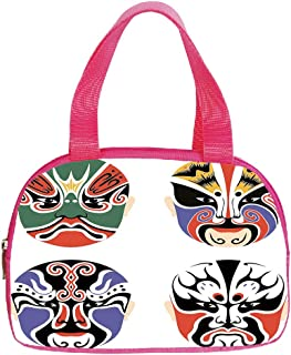 Multiple Picture Printing Small Handbag Pink,Kabuki Mask Decoration,Traditional Chinese Cultural Opera Mask Set Collection Asian Tribal Decorative,Multicolor,for Girls,Comfortable Design.6.3