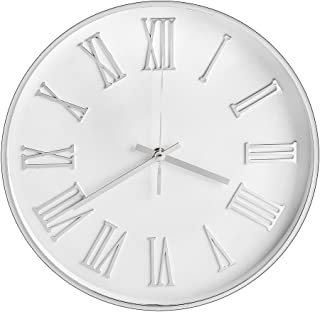 Vitaa 12 Inch Modern Wall Clock, Silent Non-Ticking Quartz Decorative Battery Operated Wall Clock for Living Room Home Office School Silver Plastic Frame Glass Cover(Silvery,Roman Numerals)