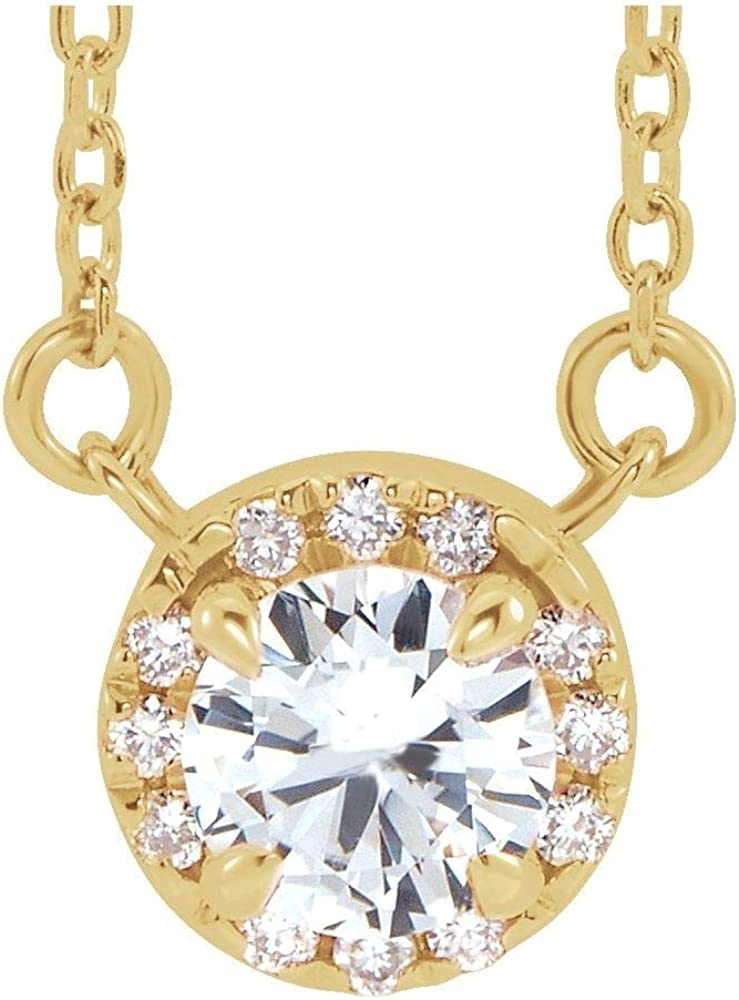 Selling rankings 14kt Yellow Gold 6mm Round White CTW Sapphire 5 Product 1 18