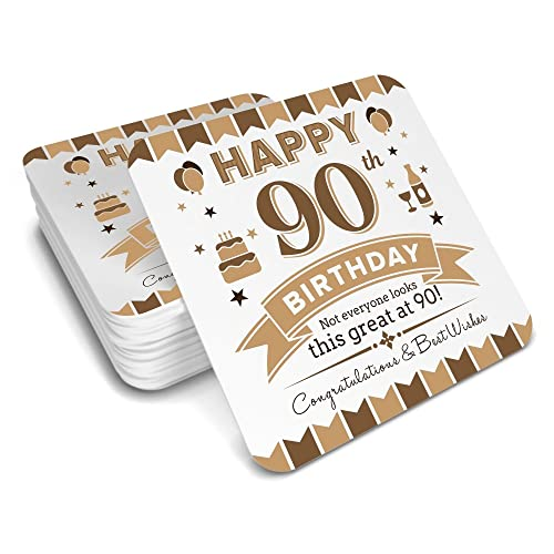 90th Birthday Keepsake Coaster For Men Coffee Or Tea Mug Gift Idea