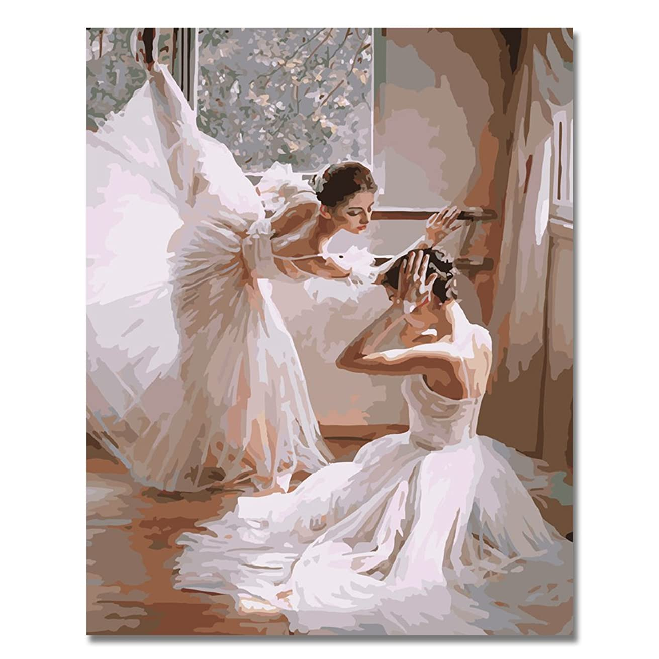 BOSHUN Paint by Numbers Kits with Brushes and Acrylic Pigment DIY Canvas Painting for Adults Beginner- Ballet Dancers 16 x 20 inch(Without Frame)