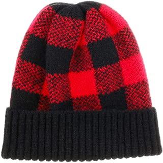 Winter Soft Stretch Buffalo Plaid Cuff Beanie Hat Thick Chunky Warm Knit Skull Ski Cap
