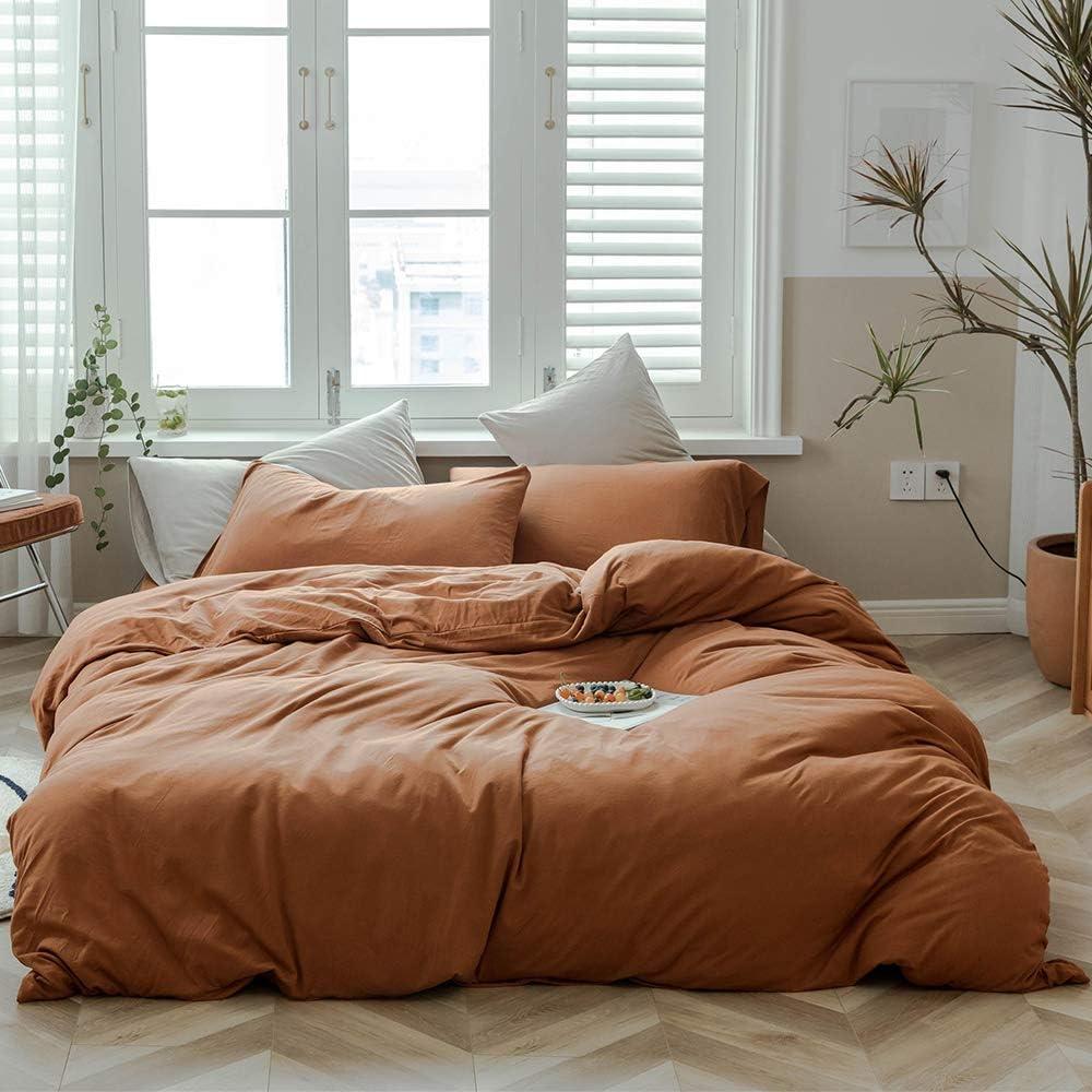Jersey Knit Cotton 55% OFF Duvet Cover Set S Solid Pumpkin Bedding Color Max 61% OFF