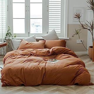 AMWAN Jersey Knit Cotton Duvet Cover Set Solid Pumpkin Color Bedding Set Luxury Soft Knit Cotton Comforter Cover Queen Siz...