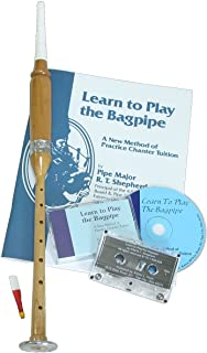 Roosebeck Satinwood Practice Chanter with Nickeled Sole, Learn to Play the Bagpipe Book and CD
