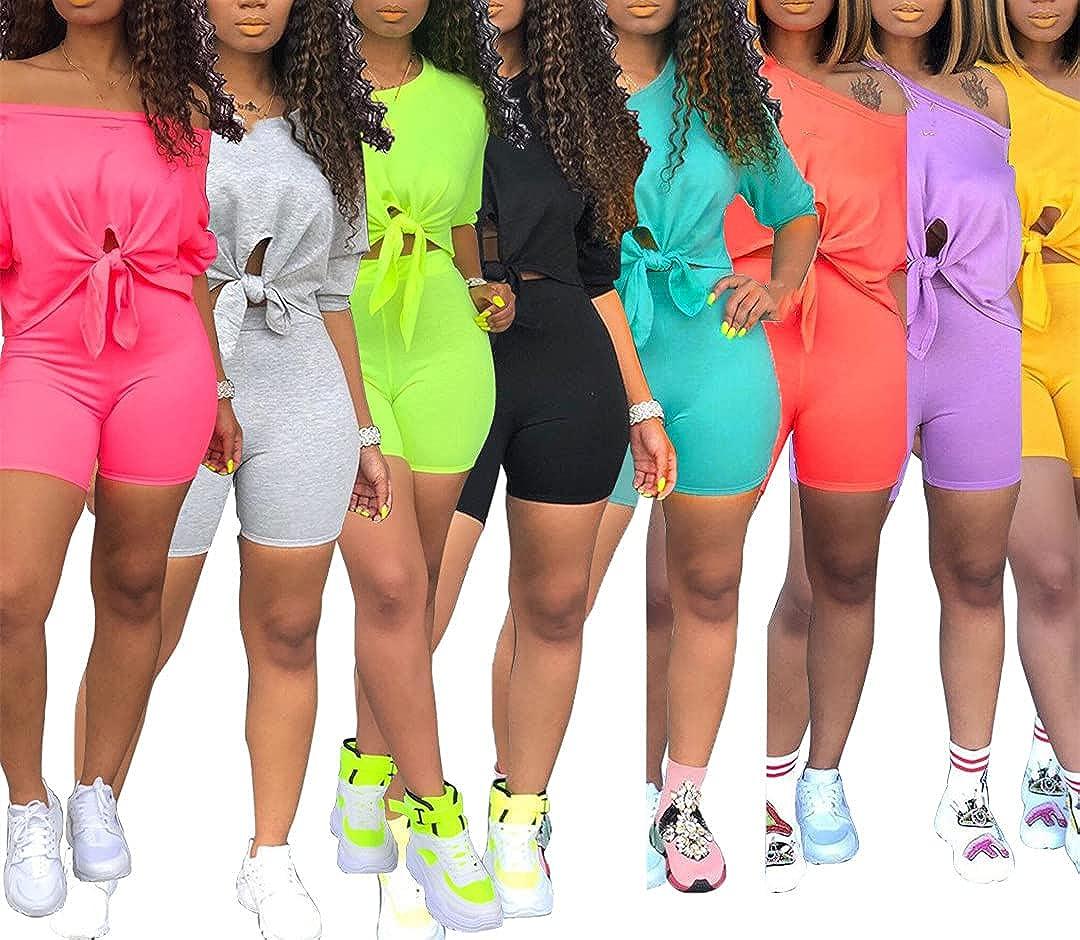 Two Piece Set Women Waist Shorts Summer Crop Short Sleeves Tees Tracksuit