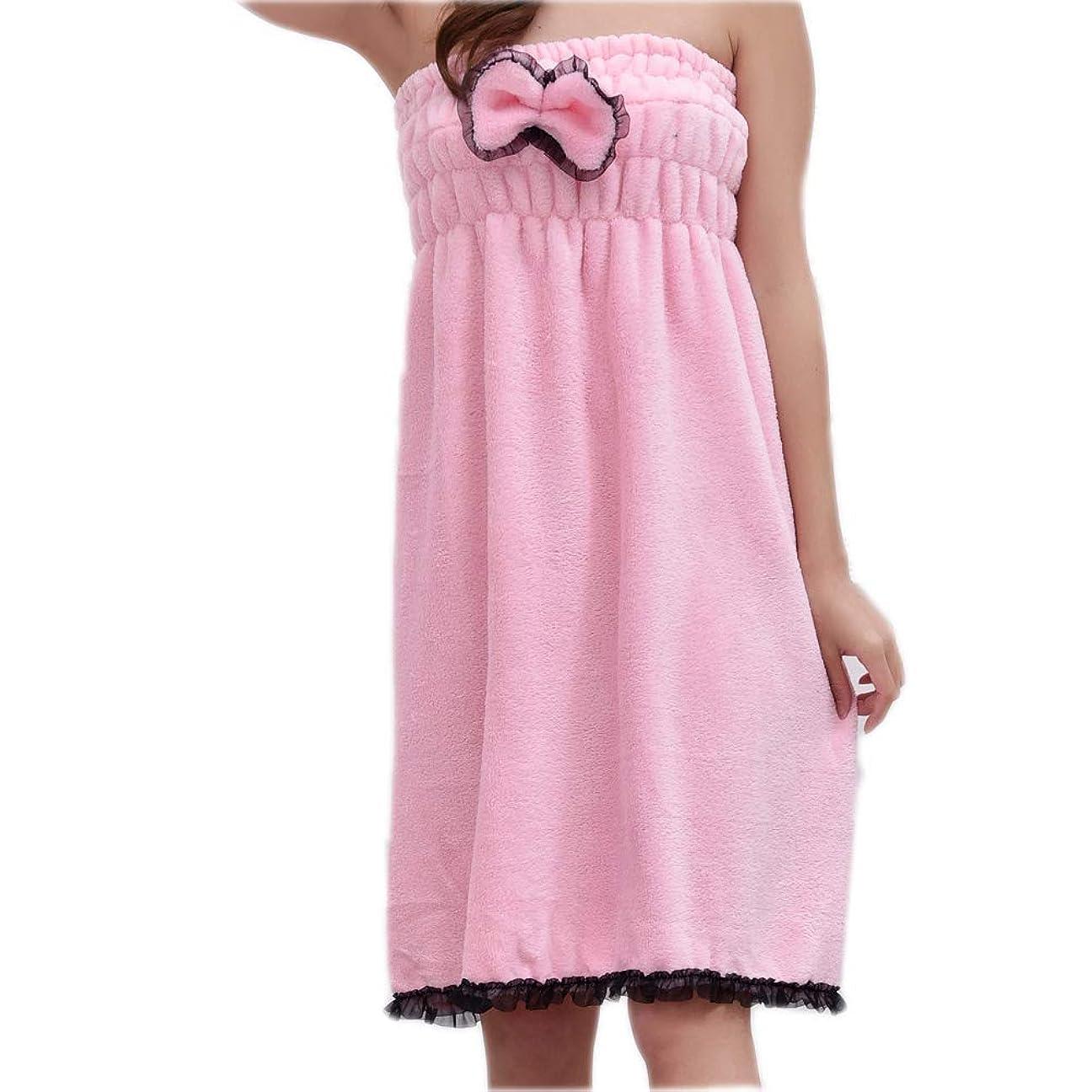 大学院枯渇する雄弁なChinashow マイクロ ファイバーバス タオル ラップ セット-豪華な ボウ エラスティック スパ ドレス ヘア ドライヤータオル キャップ付き ピンク