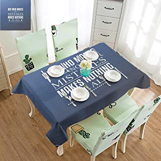 SLLART Rectangle Tablecloth Fitted Motivational,Wise Words About Learning from Your Mistakes with Vintage Hipster Design,Blue Umber White W60 xL102,for Holiday Dinner
