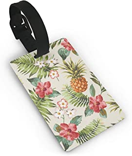 Tropical Pineapple Flowers Floral Luggage Bag Tags Cruise Tags Etag Adjustable Wrist Strap Bag Tags Travel Suitcases Tags Wide Waterproof Suitcase Labels Baggage Name Tags