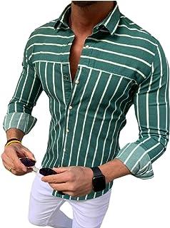 pipigo Mens Simple Stripe Long Sleeve Slim Button-Down Shirts