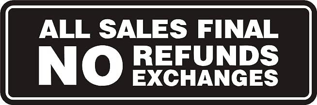 Signs ByLITA Standard All Sales Final No Refunds No Exchanges Sign(Black) - Medium