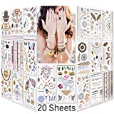 Lady Up Waterproof Metallic Temporary Tattoo 20 sheets in Gold Silver Tattoos,Shimmer Temporary Tattoos for Body Art
