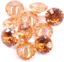 50 stuks 4, 6, 8 mm 5A rond enkel door gat kleurrijke zirkonia steen kraal naaien handwerk decoraties edelsteen champagne ...