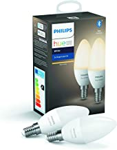 Philips Hue White Smart Candle Bulb Twin Pack LED [E14 Small Edison Screw] with Bluetooth, Compatible with Alexa and Googl...