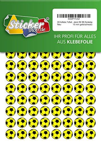 252 Aufkleber, Fußball, Sticker, 15 mm, gelb/schwarz, aus PVC, Folie, bedruckt, selbstklebend, EM, WM, Bundesliga