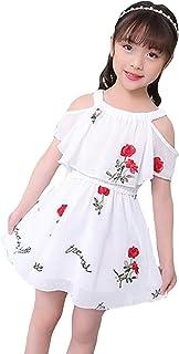 DeBangNi 子供服 女の子 ガールズ 夏服 ワンピース シフォン 半袖 子供ドレス プリンセスワンピ オープンショルダー プリント 可愛い 韓国風 ファッション 通気 涼やか リゾート
