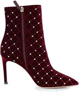 VALENTINO Luxury Fashion Womens QW2S0I06QWMU27 Burgundy Ankle Boots | Season Outlet