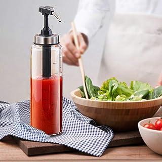 TANGN Sauce Pompe Distributeur Transparence élevée Bouteille de Cuisine Bonne étanchéité Bouteille Vinaigrette en Verre, D...
