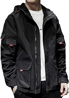 JEAREY ウィンドブレーカー ジャケット メンズ ゆったり フード付き カーゴ ミリタリー 大きいサイズ アウトドア 無地 ブルゾン アウター スポーツ 立ち襟 カジュアル 春 秋 防風 通学 旅行 アウトドア 2色