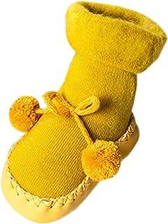 XFentech 綿赤ちゃん靴 ソックスベビーシューズかわいい 無地ファーボール暖かソックス 靴下 滑り止め男の子 女の子 0-24月