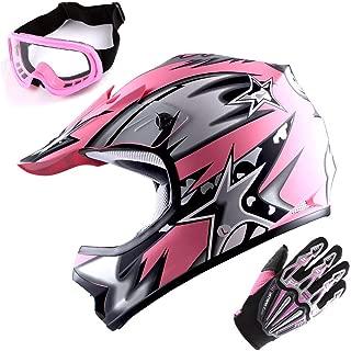 WOW Updated Youth Motocross Helmet Kids Motorcycle Bike Helmet Matt Star Pink + Goggles + Skeleton Pink Glove Bundle