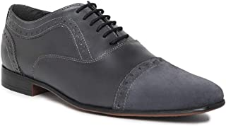 NOBLE CURVE Grey Leather Oxford Shoes with Cap
