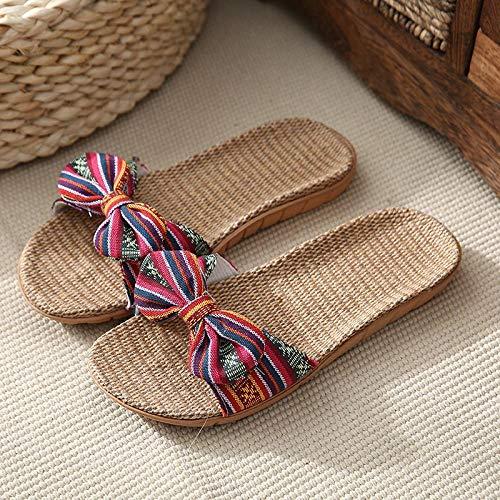 Zapatillas Zapatos Zapatillas de Lino Zapatillas Planas Informales con Lazo Ondulado Sandalias de Mujer Chanclas de Lino cómodas 6 D