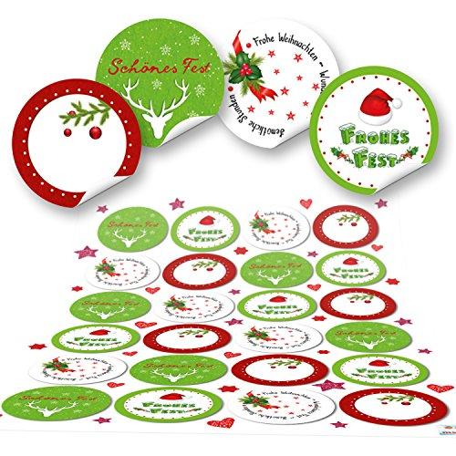 96 runde grün rot weiß Frohe Weihnachten Aufkleber Geschenkaufkleber Verpackung weihnachtlich Sticker für Geschenke Weihnachtsaufkleber Text