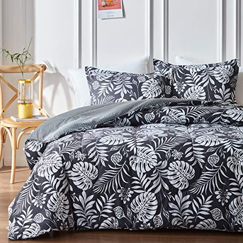 Uozzi Bedding Dark Gray Twin Comforter Set, Reversible Down Alternative Comforter Microfiber Duvet Sets - 1 Comforter + 2 Pillow Shams with White Banana Leaf
