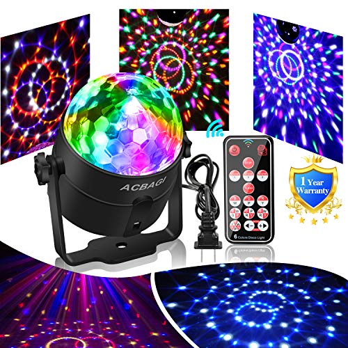 Party Ball Light Disco Lights Mini Disco Ball 6 Colors Stage Lights With Remote Control, Sound Motion Sensor Stage Lights for Indoor Kids Parties, Bar, Dancing, Wedding. Upgraded Version (1 pack)