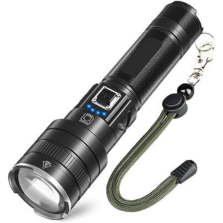 懐中電灯 USB充電式 Led ライト CREE XHP90 超高輝度6600ルーメン 強力 軍用 最強 明るい ハンディライト 5モードズーム 小型 かいちゅうでんとう 防水 防災