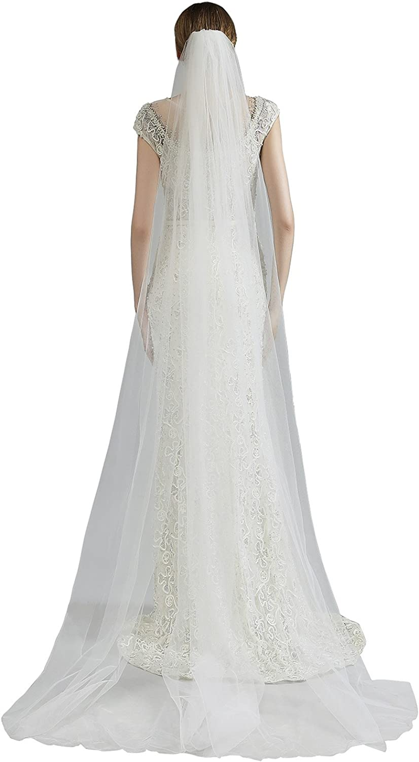 Sarahbridal Women's Soft Tulle Chapel Cathedral Bridal Veils With Comb Long Wedding Veil 11059