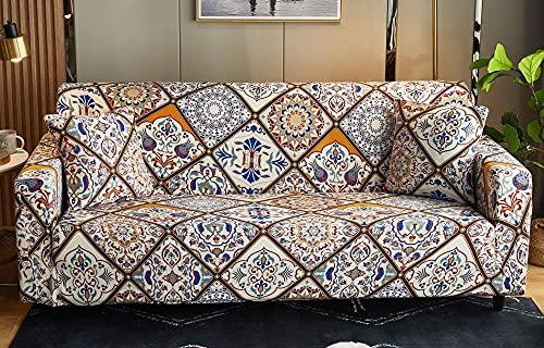 Funda Sofas 2 y 3 Plazas Patrón De Flores Retro Fundas para Sofa con Diseño Elegante,Cubre Sofa Ajustables,Fundas Sofa Elasticas,Funda de Sofa Chaise Longue,Protector Cubierta para Sofá