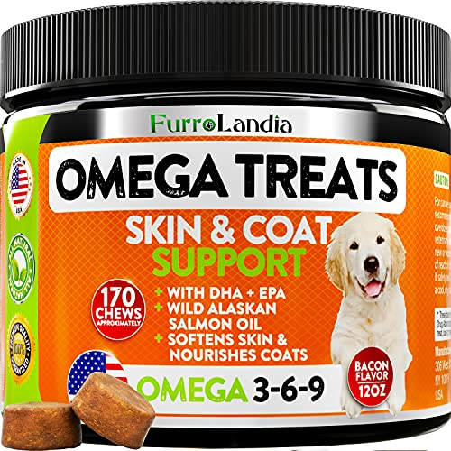 Omega 3 Fish Oil Chews for Dogs - Allergy & Itch Relief - Dog Shedding - EPA & DHA Fatty Acids Treats - Alaskan Salmon Oil Supplement - Omega 3 6 9 for Dogs - Healthy Skin & Coat Vitamins | 170 Bites