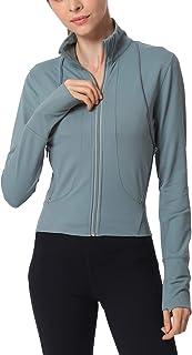 معطف يوجا بسحاب للنساء مناسب لشكل الجسم مع فتحات للإبهام