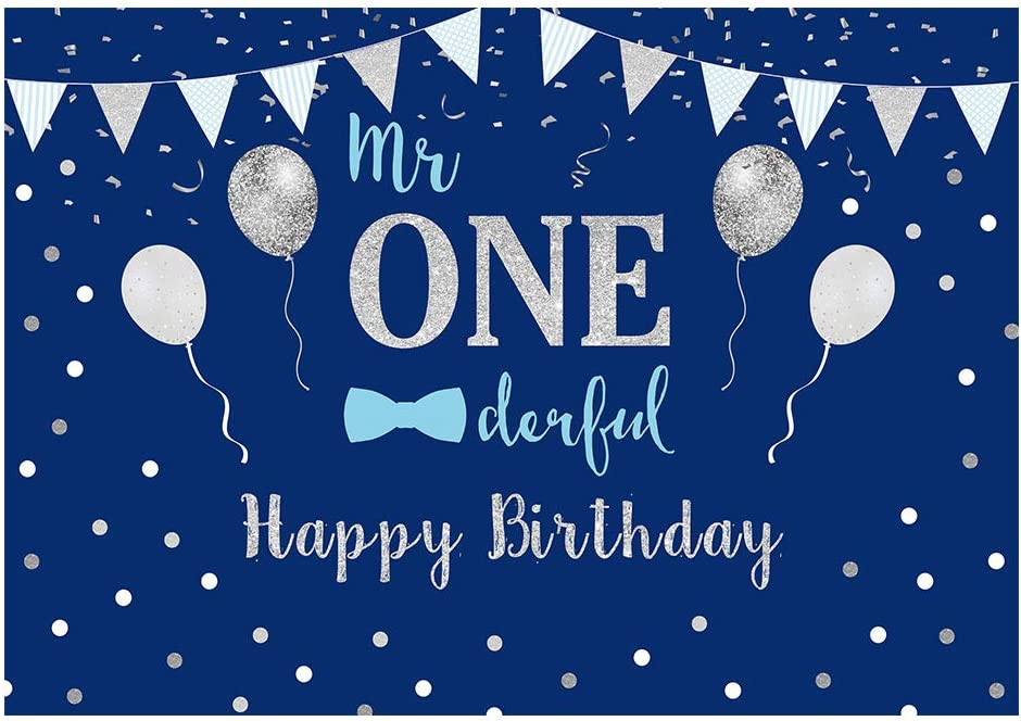 Funnytree 8x6ft Durable Fabric Baby Boy 1st Birthday Party Backdrop No Wrinkles Mr Onederful First Blue and Silver Photography Background Little Man Bow Tie Banner Decorations Photo Booth Props