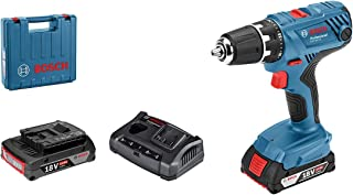 Bosch Professional 18 V system batteriborr GSR 18 V-21 (max. vridmoment: 55 Nm, inklusive 2 x 2,0 Ah batteri, laddare GAL ...