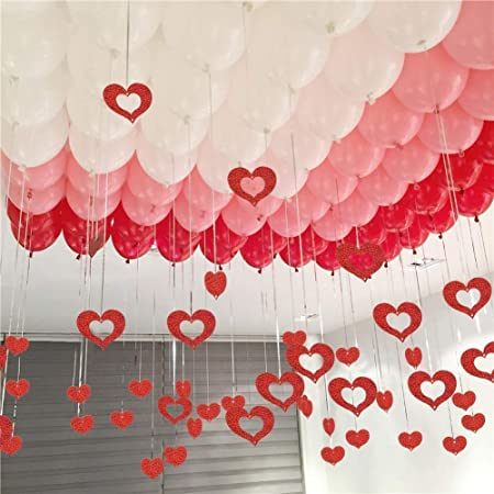 Party Propz Glitter Stars & Tinsel Curtain Hanging Balloon Swirls 72Pcs Ceiling Decorations - red (Balloons Not Included)/ Balloon For Birthday
