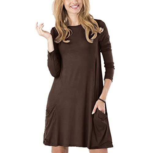 a835d8199895 Women s Casual Pockets Plain Simple T-Shirt Tunic Loose Dress