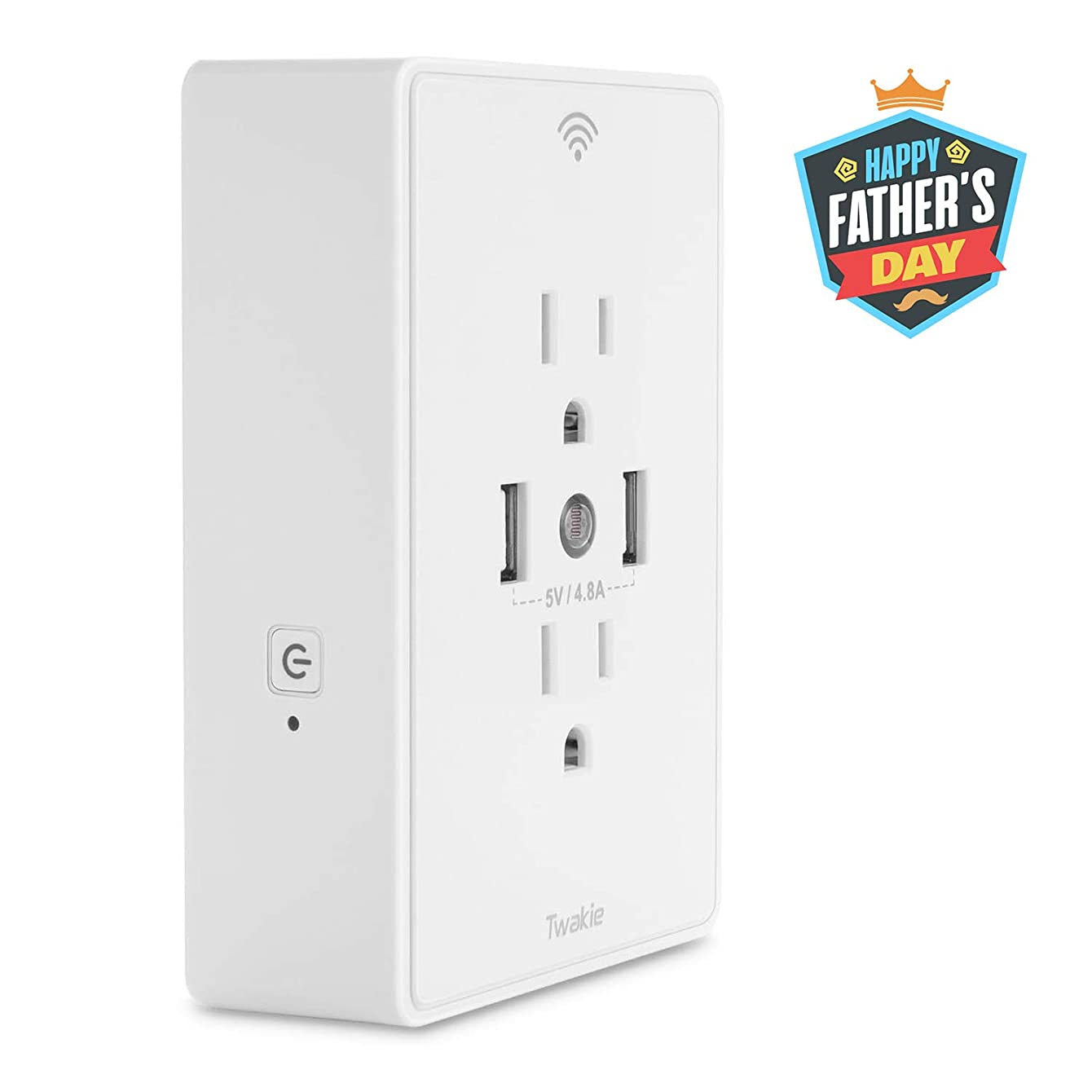WiFi Smart Outlet Wall Plug 15 Amp Power Socket with 2 USB Ports 4.8A and Night Lights,On/Off Outlet Switch,Compatible with Alexa Echo and Google Home,No Hub Required, ETL Listed, White by Twakie